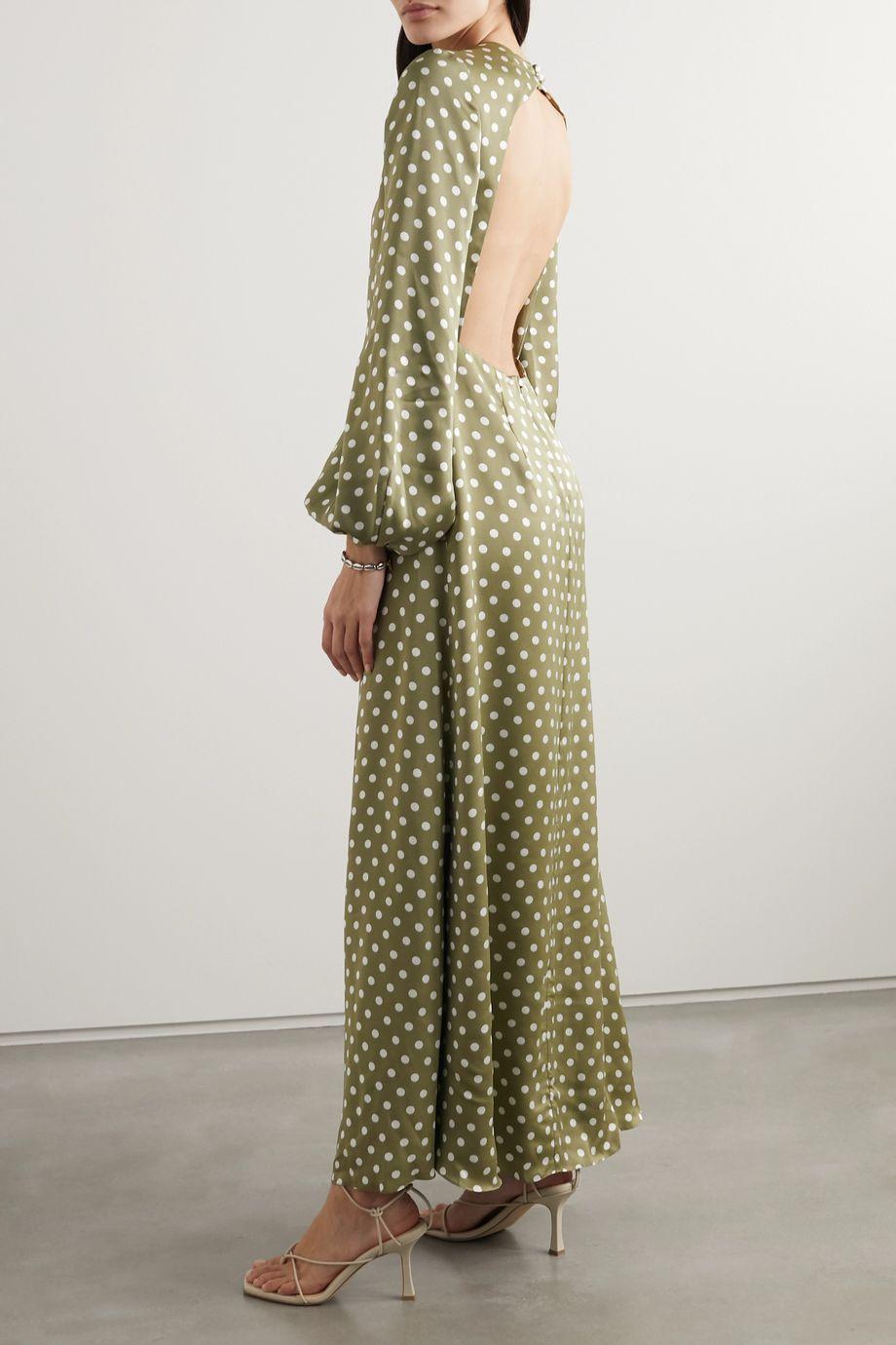 Racil Fez open-back polka-dot satin maxi dress