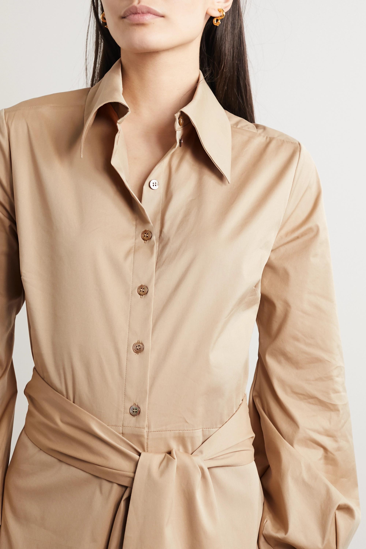 Racil Selman 露背配腰带棉质混纺衬衫式连衣裙