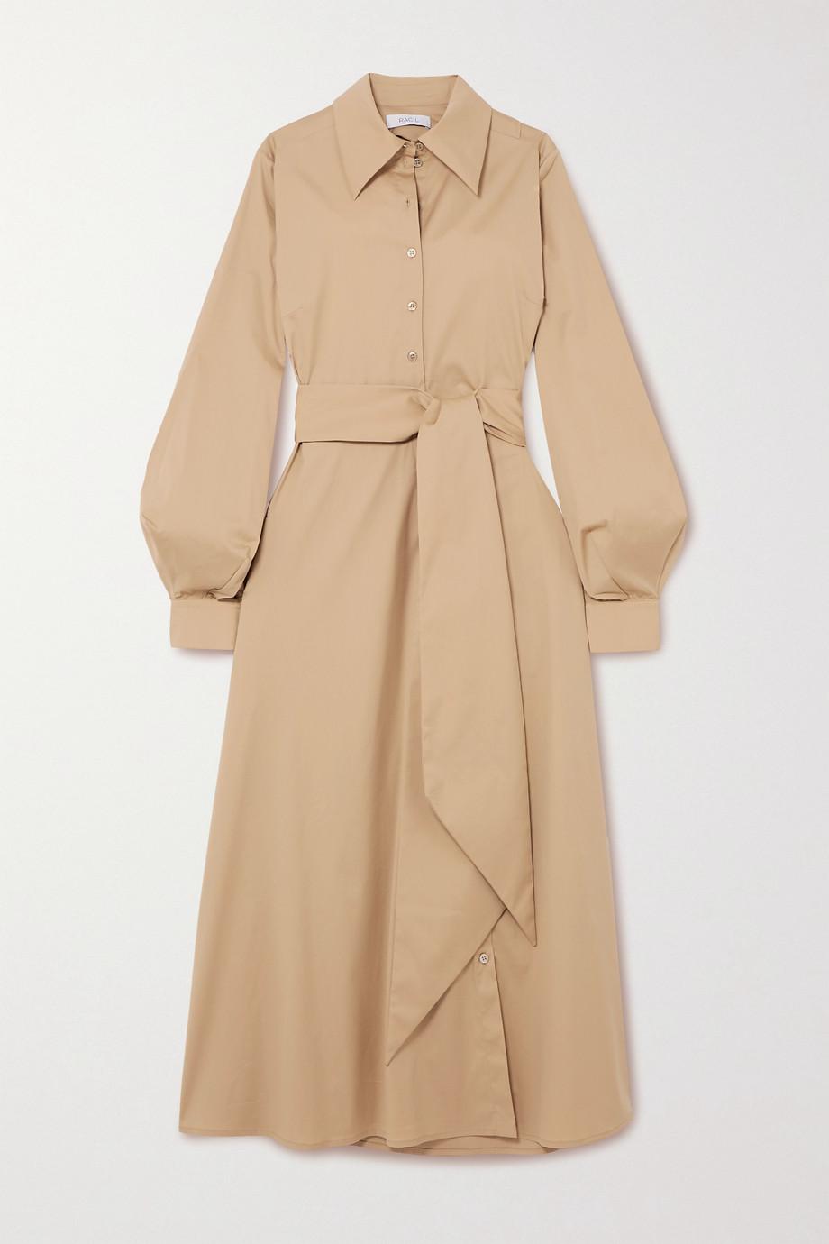Racil Selman open-back belted cotton-blend shirt dress