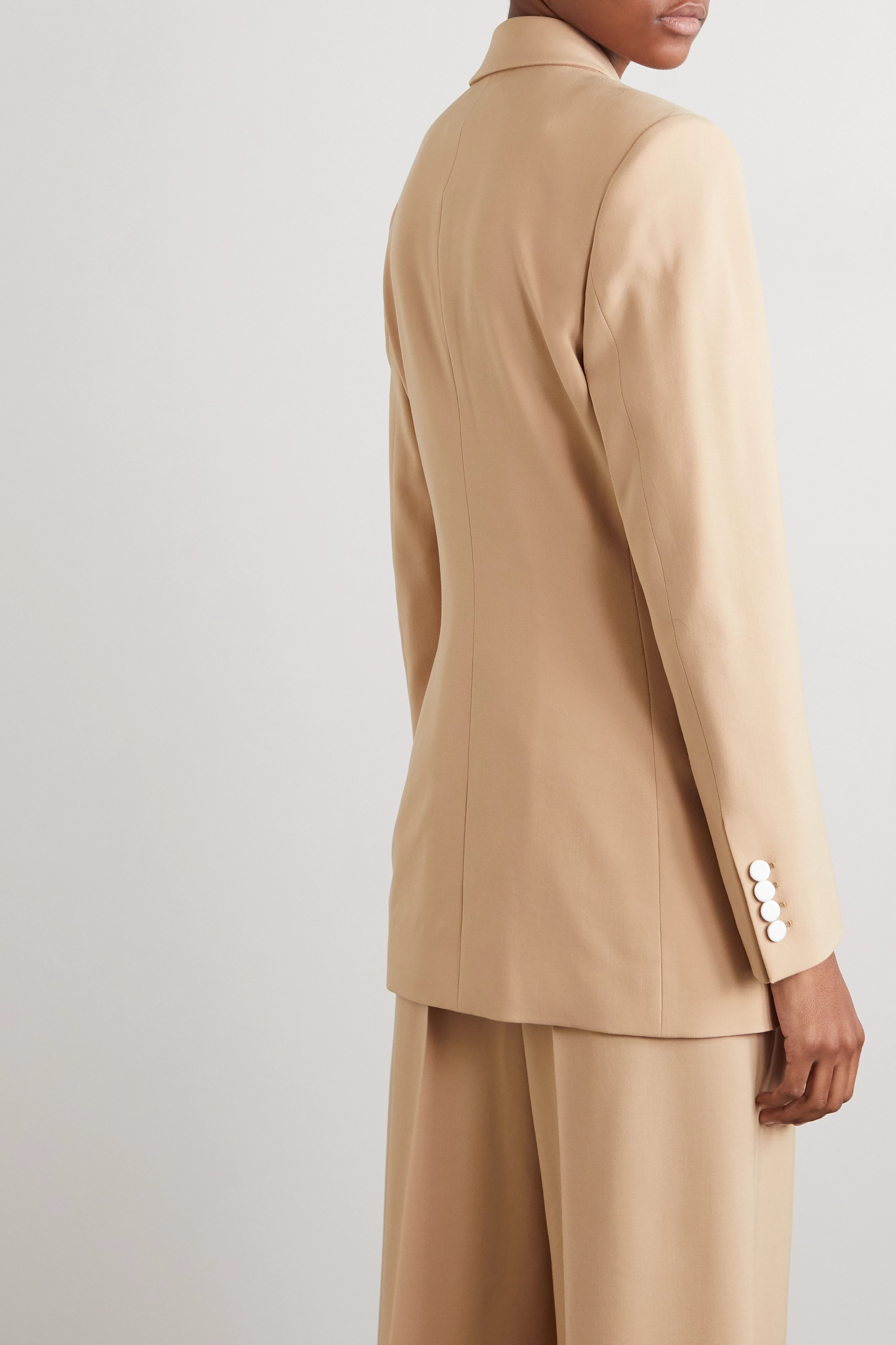 Racil Two-tone double-breasted twill-trimmed wool-blend blazer