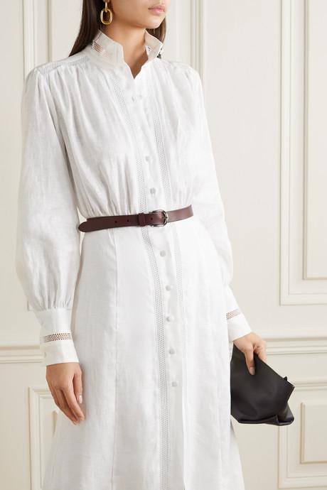 Marella crochet-trimmed linen maxi dress