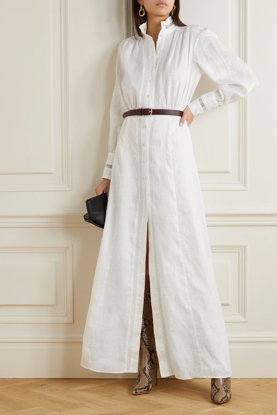 Raquel Diniz Marella crochet-trimmed linen maxi dress