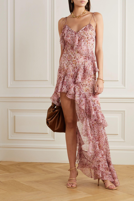 Raquel Diniz Stella asymmetric ruffled floral-print silk-chiffon dress