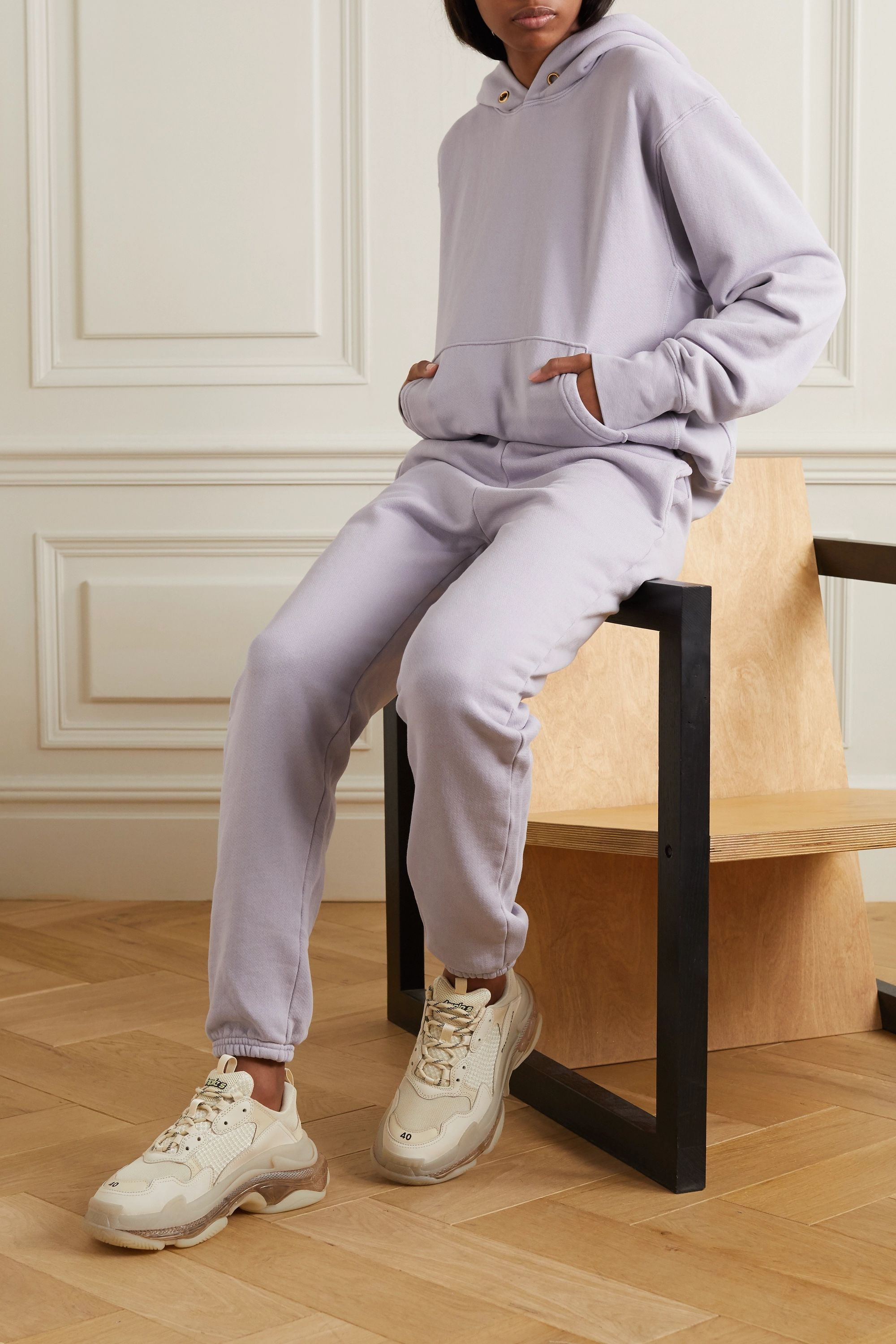 Les Tien Cropped cotton-jersey hoodie