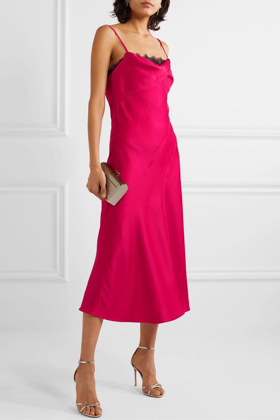 Jason Wu Collection Lace-paneled satin midi dress