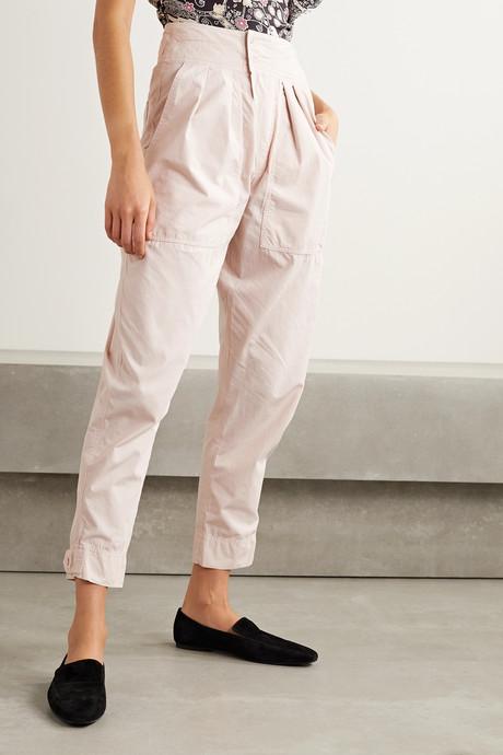 Mariz pleated cotton tapered pants