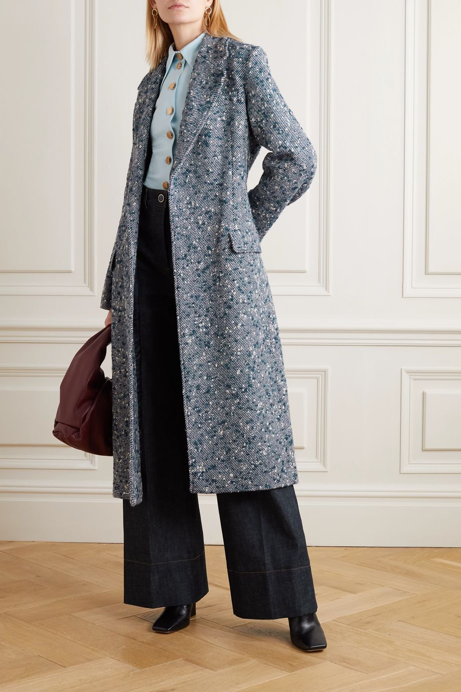 Victoria, Victoria Beckham Belted wool-blend bouclé-tweed coat