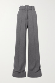 Victoria, Victoria Beckham Belted jersey wide-leg pants