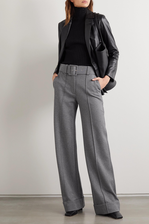 Victoria, Victoria Beckham Belted jersey wide-leg pants