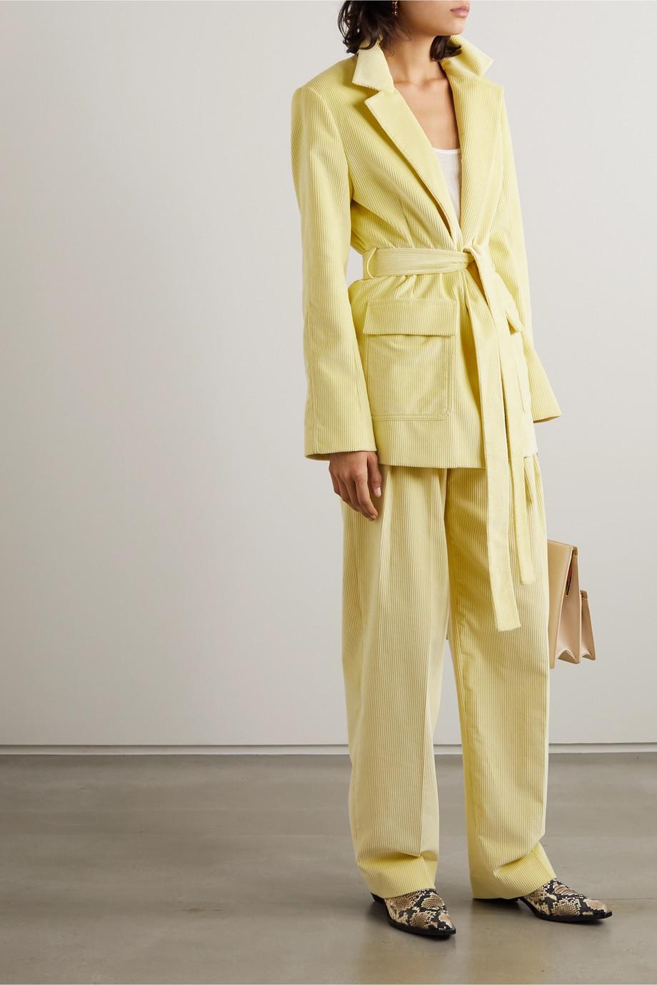 Victoria, Victoria Beckham Belted cotton-corduroy blazer