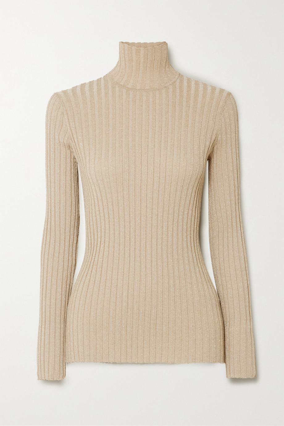 Victoria, Victoria Beckham Metallic ribbed-knit turtleneck sweater
