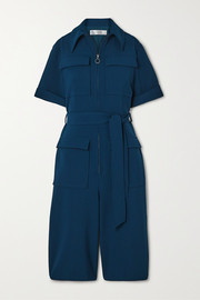 Victoria, Victoria Beckham Belted cropped cady jumpsuit