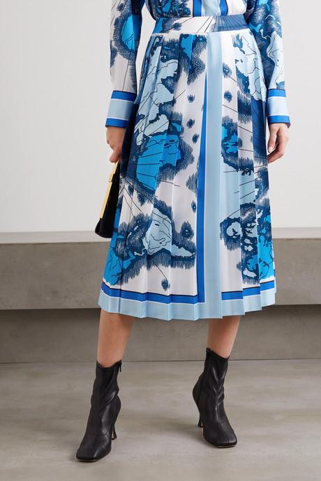 Pleated printed satin-twill midi skirt
