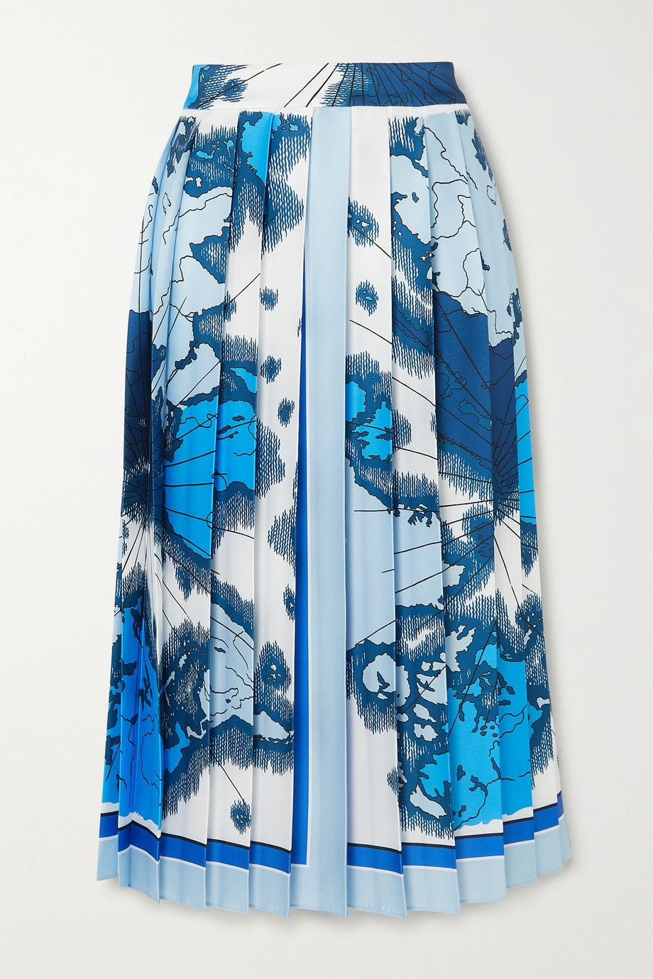 Victoria, Victoria Beckham Pleated printed satin-twill midi skirt