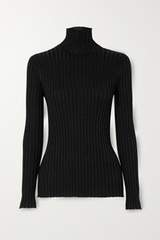 Victoria, Victoria Beckham Glittered ribbed-knit turtleneck sweater