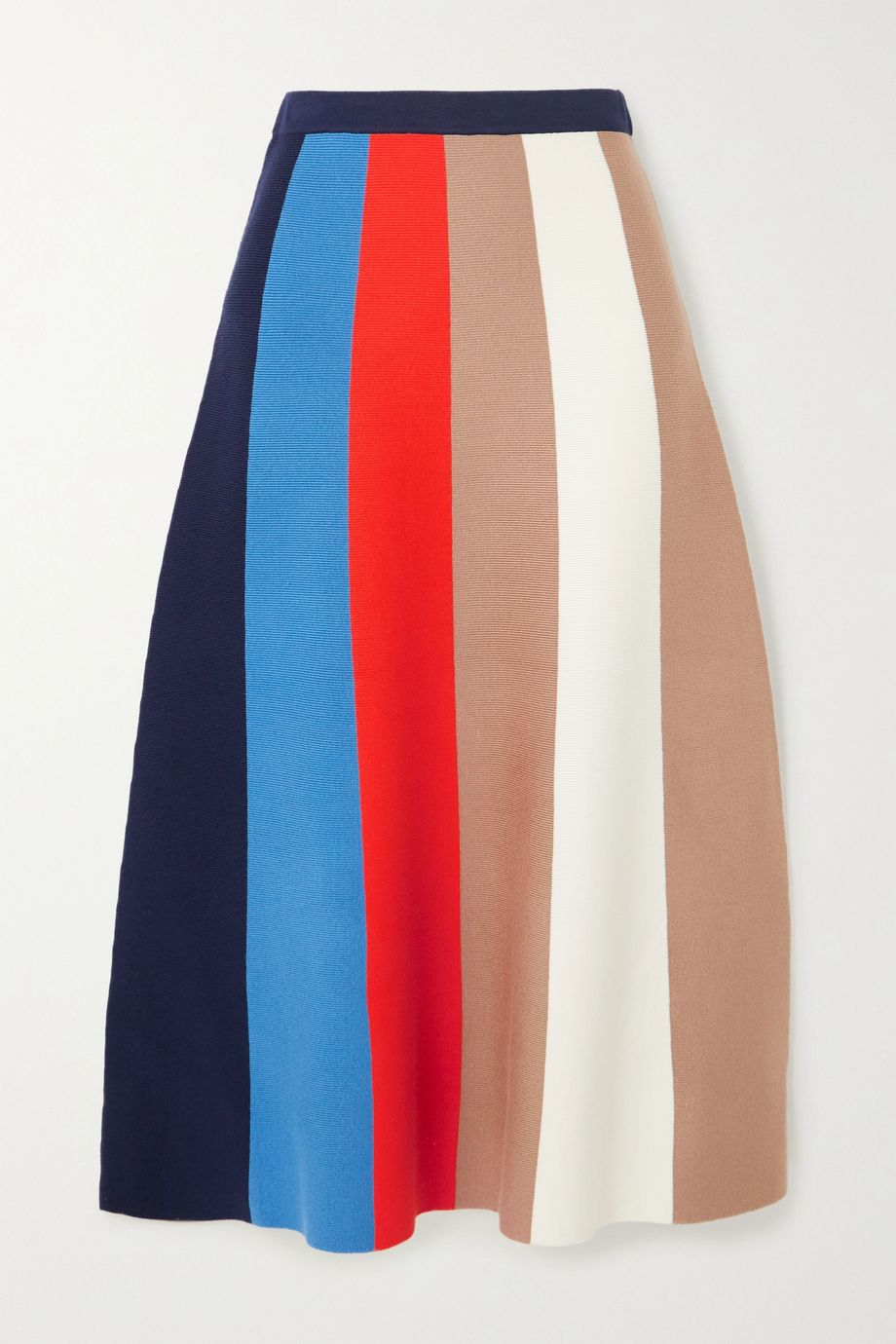 Victoria, Victoria Beckham Striped ribbed-knit midi skirt