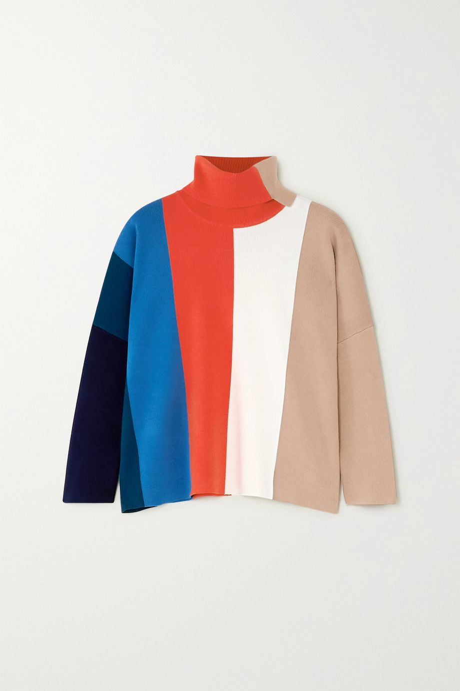 Victoria, Victoria Beckham Color-block stretch-knit turtleneck sweater