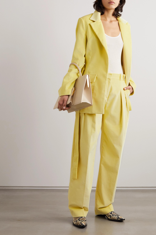 Victoria, Victoria Beckham Pleated cotton-corduroy wide-leg pants