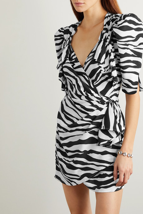 Zebra-print chiffon wrap mini dress