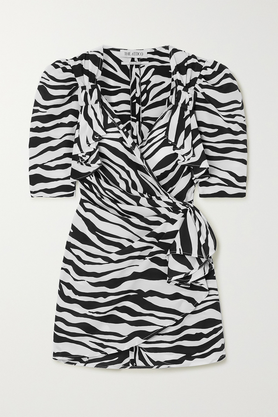 The Attico Zebra-print chiffon wrap mini dress