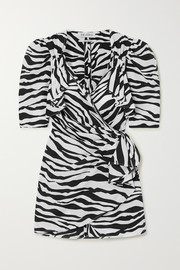 The Attico Mini-Wickelkleid aus Chiffon mit Zebraprint