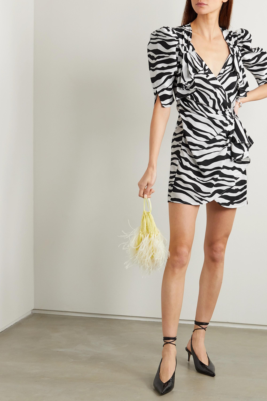The Attico Zebra-print chiffon wrap mini dress