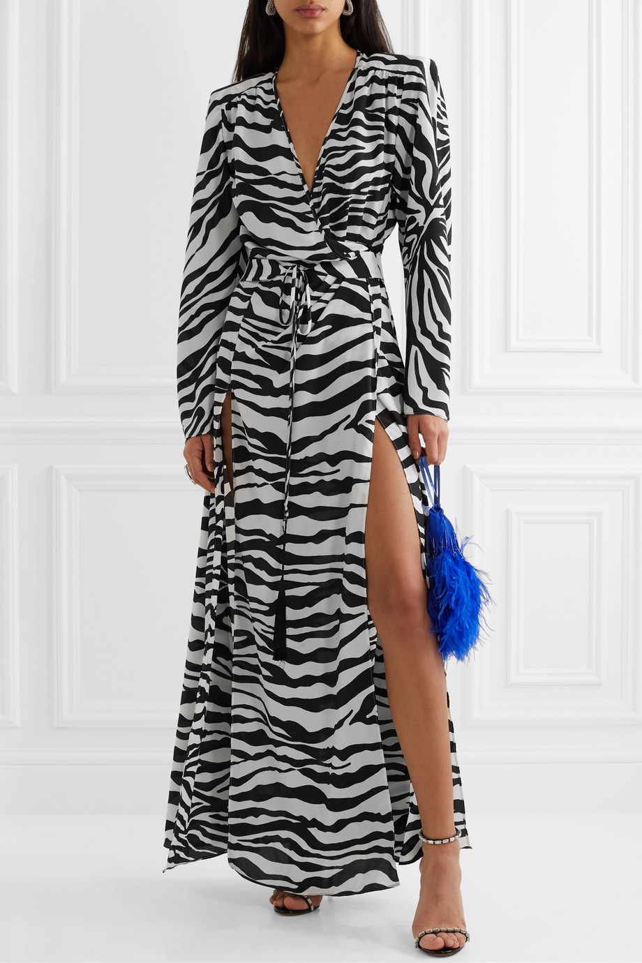 The Attico Zebra-print crepe wrap maxi dress