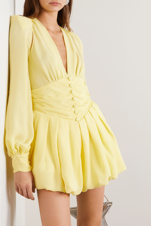 The Attico Cutout gathered georgette mini dress