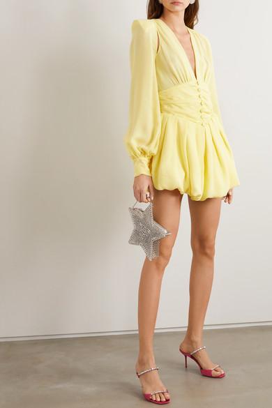 Cutout Gathered Georgette Mini Dress by Attico