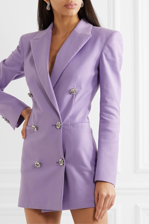 The Attico Crystal-embellished cotton-twill mini dress