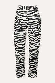 Cropped zebra-print high-rise tapered jeans