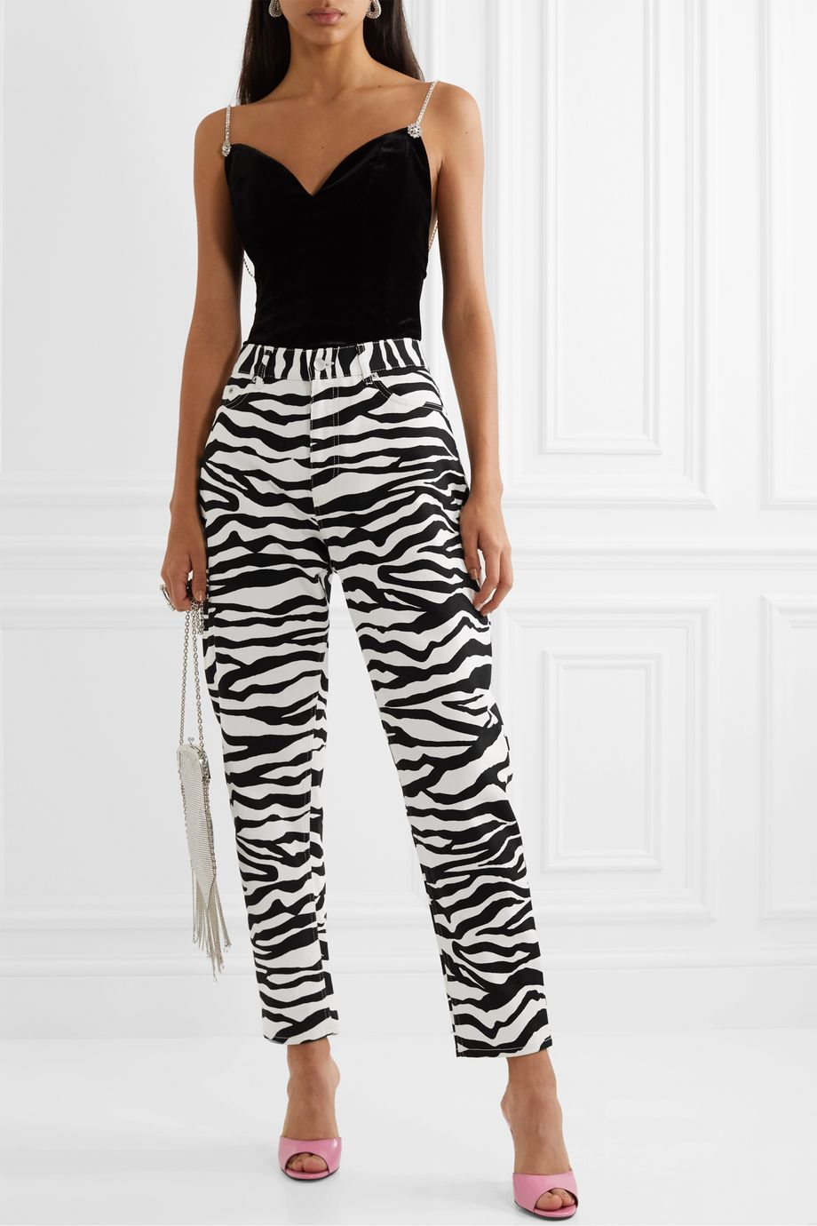 The Attico Cropped zebra-print high-rise tapered jeans