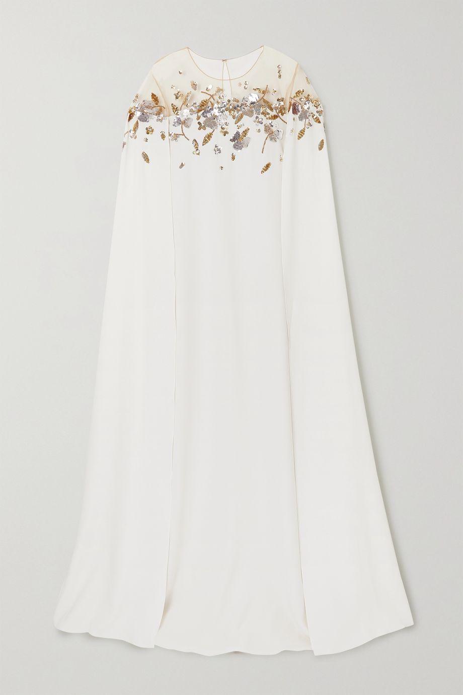 Oscar de la Renta Cape-effect sequin-embellished tulle-trimmed silk-blend gown