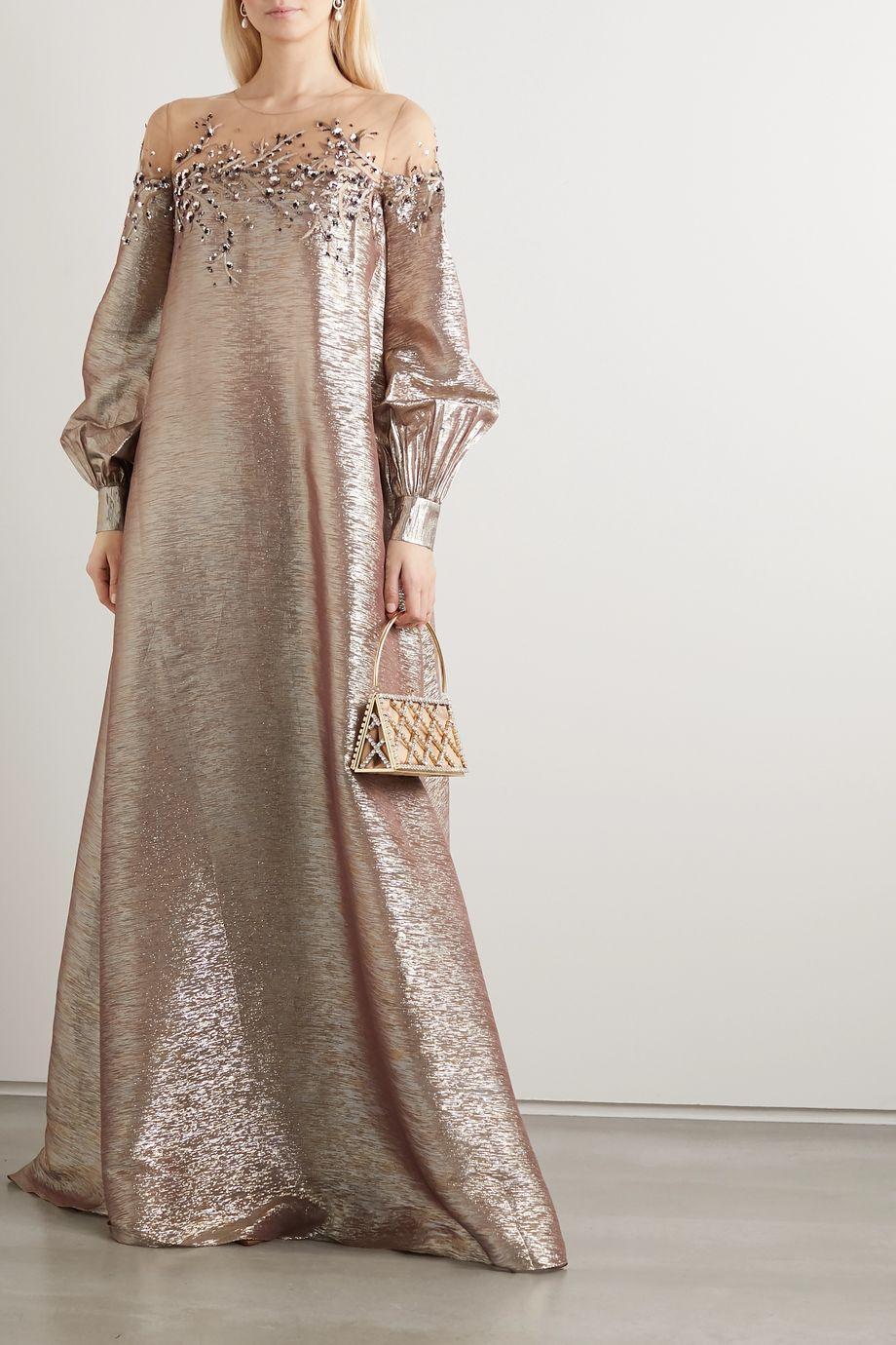 Oscar de la Renta Embroidered sequin-embellished tulle-trimmed silk-blend lamé gown