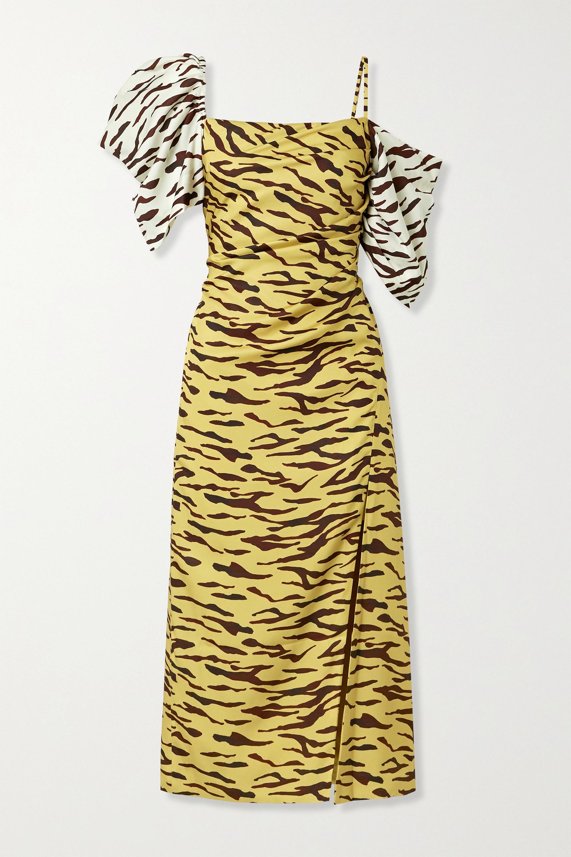 REJINA PYO Amelia gathered tiger-print satin-twill midi dress