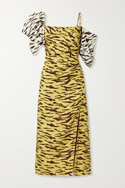 REJINA PYO Amelia gathered tiger-print satin-twill midi dress