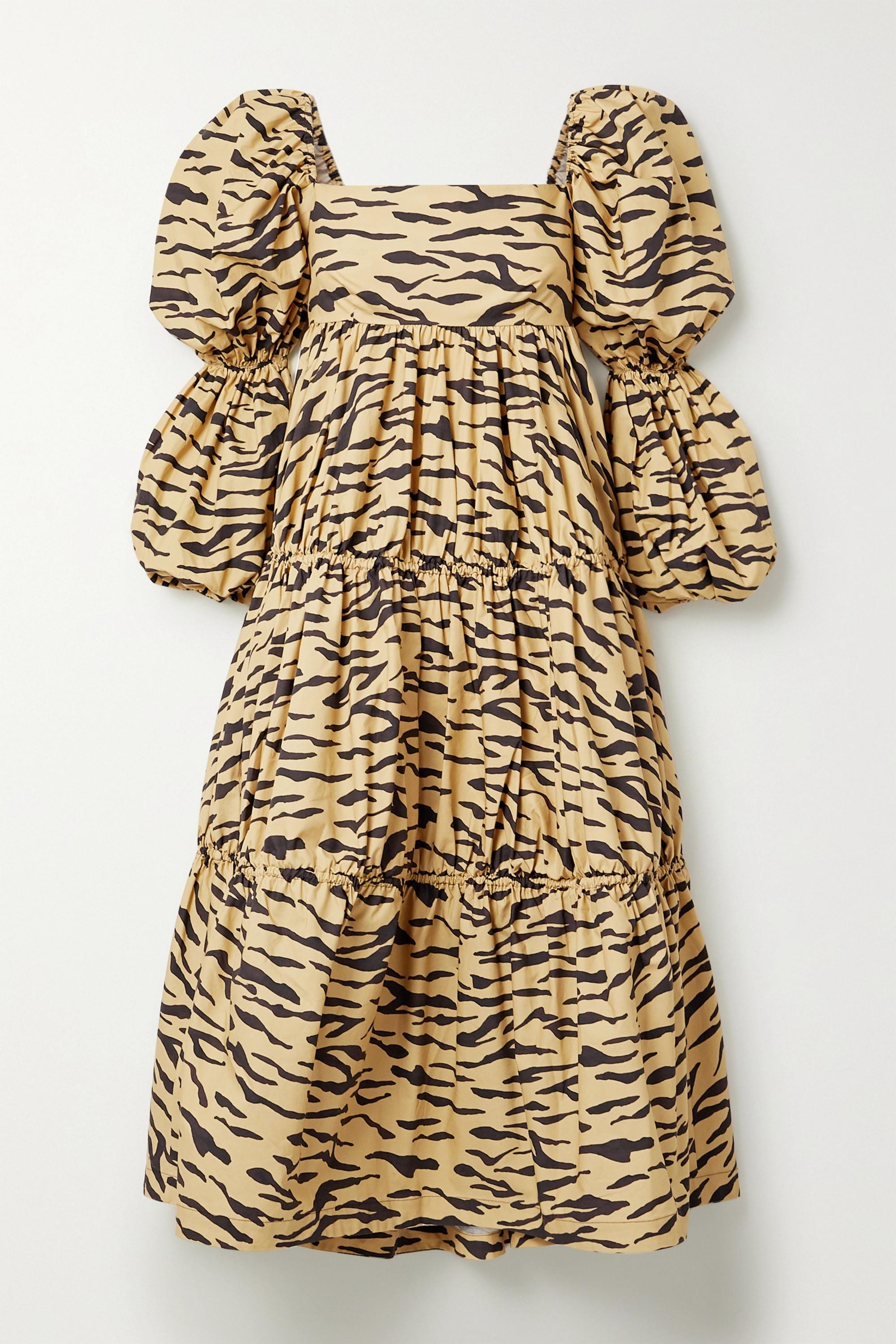 REJINA PYO Nola tiered tiger-print cotton-poplin midi dress