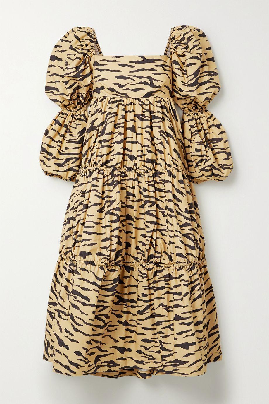 REJINA PYO Robe midi en popeline de coton à imprimé tigre Nola