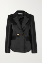 Una double-breasted cotton and silk-blend blazer