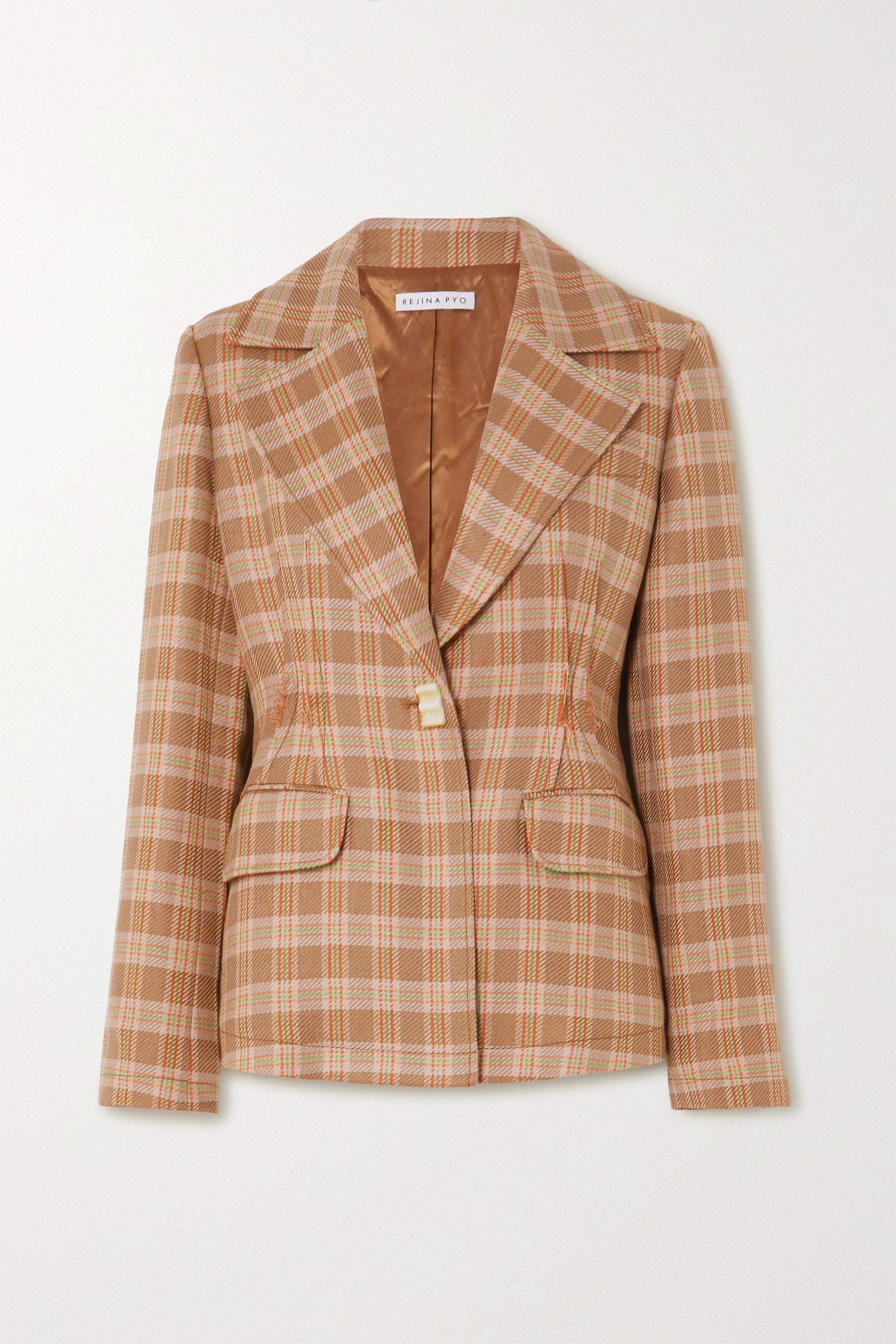REJINA PYO + NET SUSTAIN Edith checked tweed blazer