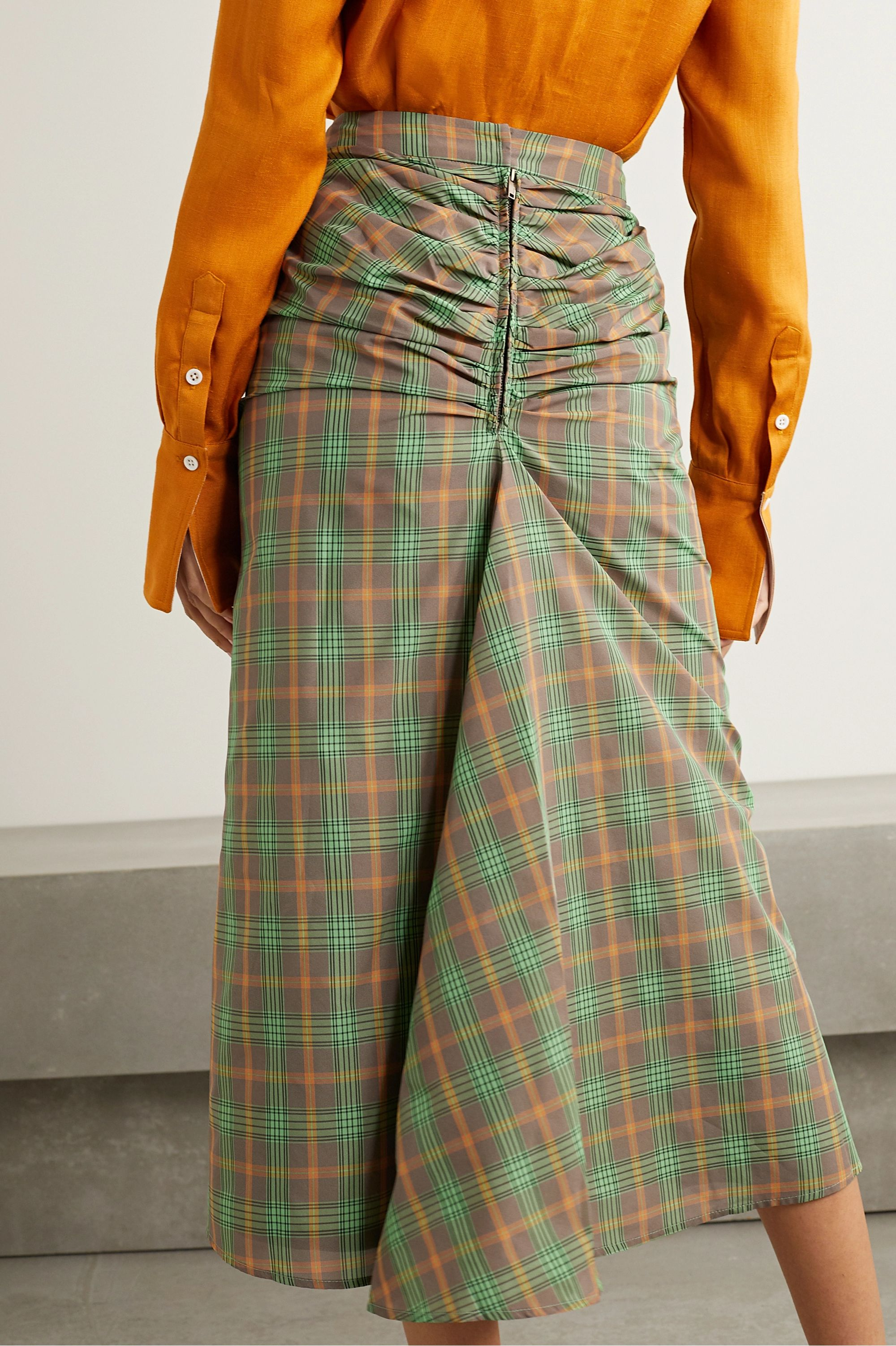 REJINA PYO Mina ruched checked voile midi skirt