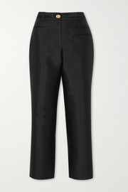 Finley cropped cotton and silk-blend slim-fit pants