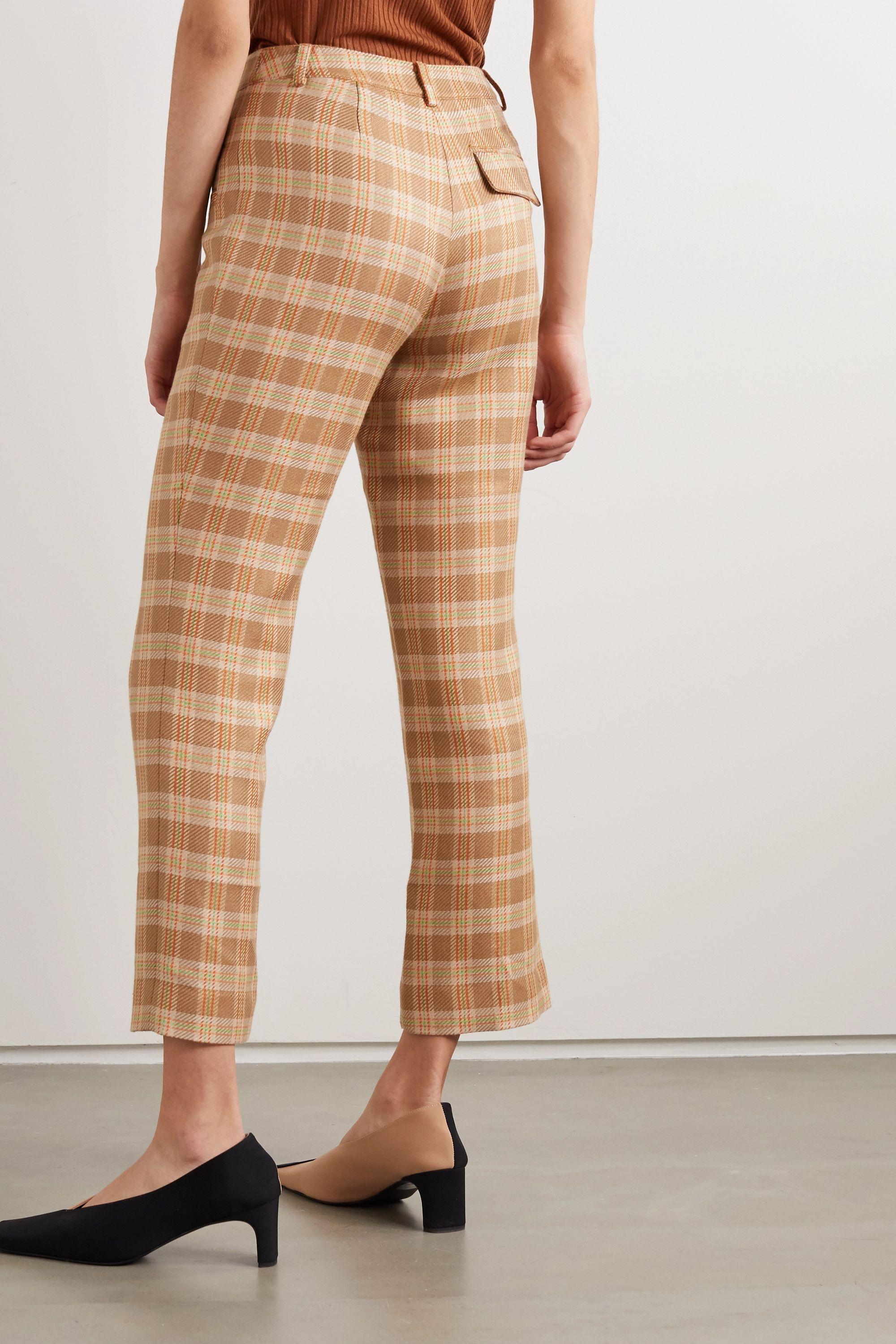 REJINA PYO Cropped checked tweed straight-leg pants