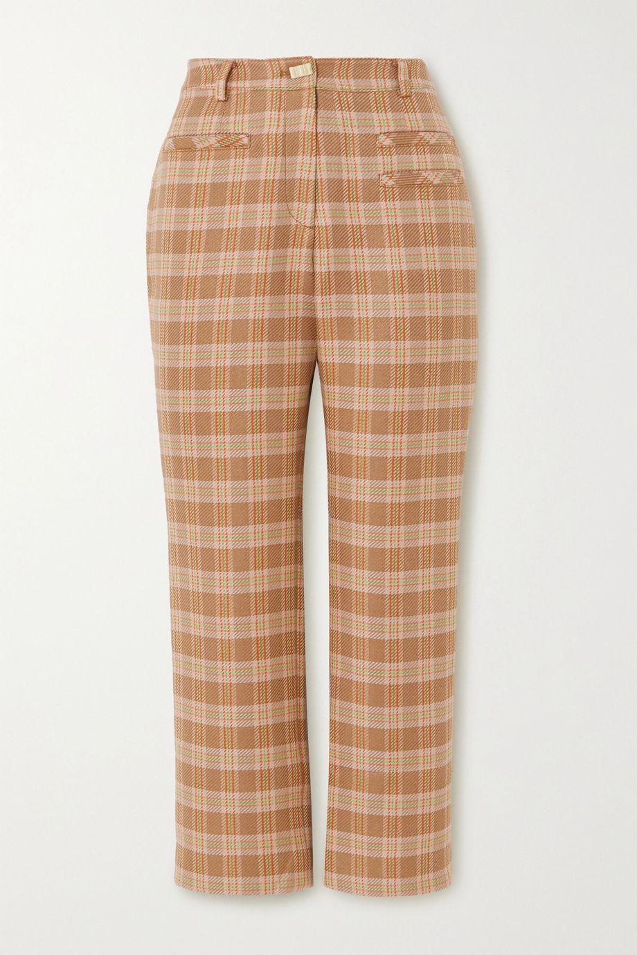 REJINA PYO Pantalon droit raccourci en tweed à carreaux