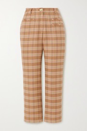 REJINA PYO Cropped checked tweed straight-leg pants