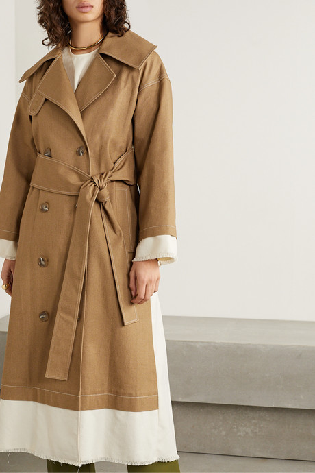 Gladys paneled cotton-blend canvas and drill trench coat