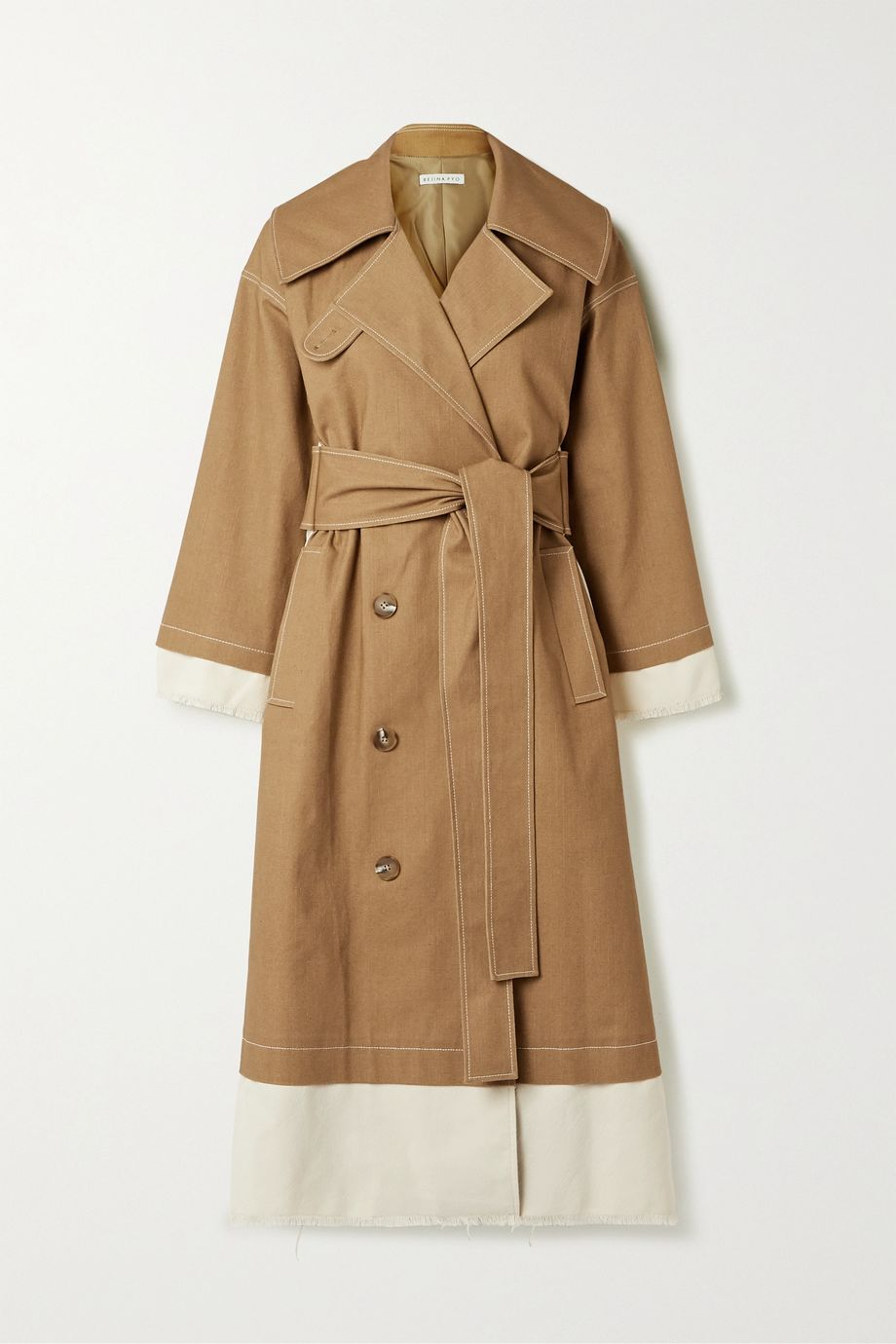 REJINA PYO Gladys paneled cotton-blend canvas and drill trench coat