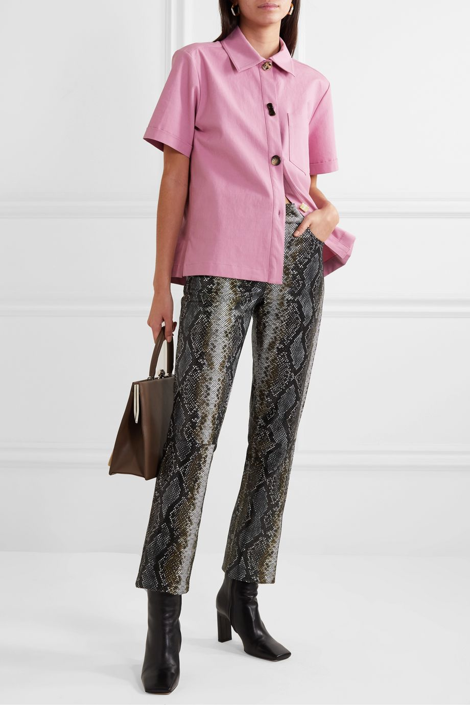 REJINA PYO Nico button-embellished cotton-blend twill shirt