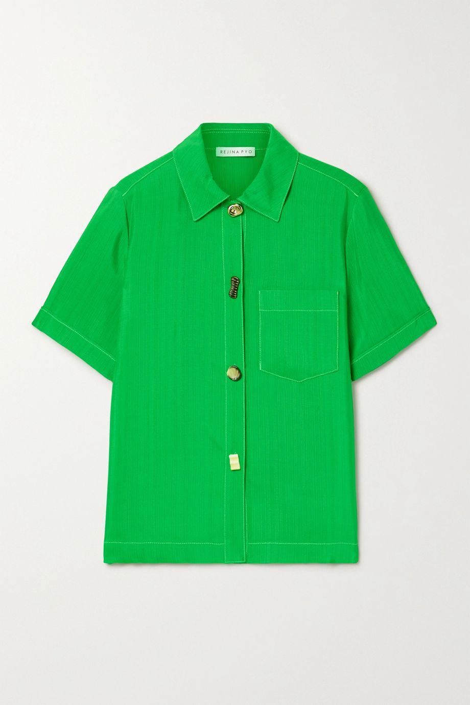 REJINA PYO Nico satin-jacquard shirt