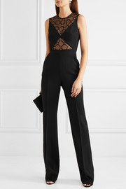 David Koma Crystal-embellished tulle and cady jumpsuit